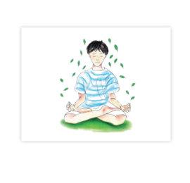 Lotosový sed – ilustrace z knihy Jóga do batůžku