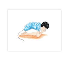 Ásana myška – ilustrace z knížky Jóga do batůžku